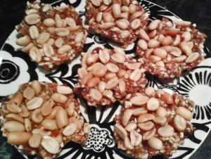 Peanutty nut and seed cakes top