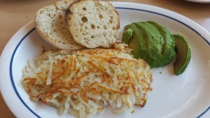 Hash brown, avocado and English muffin